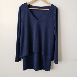 WHBM navy double layer tunic long sleeve top sz M